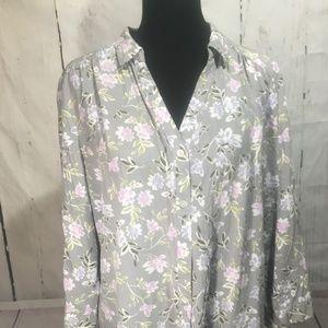 J Jill Floral Button up Top Blouse Purple Gray XL